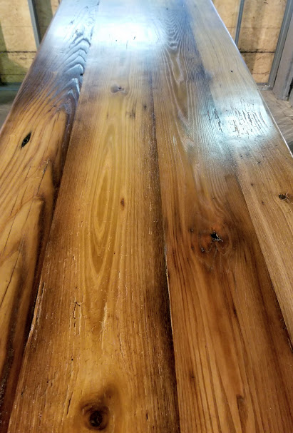 reclaimed lumber barn beam bar top