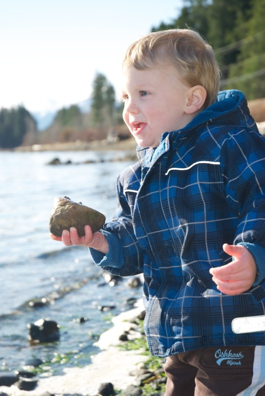 Alexander's favourite activity is throwing rocks in the water. I doubt this makes him unique among two/ three year olds!