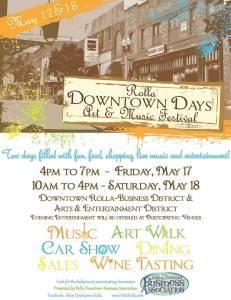 Rolla Downtown Days events flyer