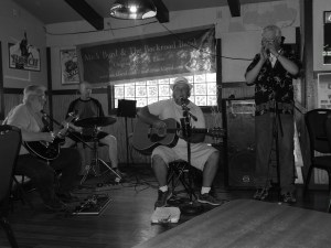 Joe Dunlap on guitar; Ray Spiller on cahone; Mick Byrd on vocals/acoustic guitar and Nick Thomas on harmonica!