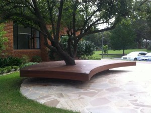 floating deck around tree