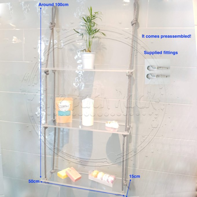 Transparent Shelve with Grey Rope