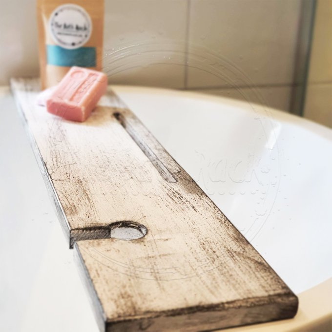 White Distressed with Black Bath Rack Tray With Tablet Slot And Wine Glass Holder Bath Caddy Bath Board