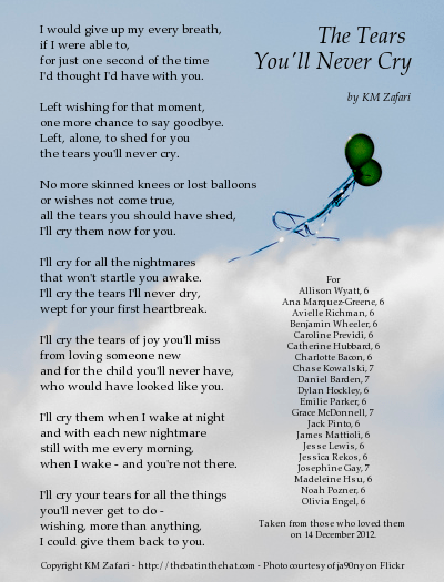 "Poem ""The Tears You'll Never Cry"" over a background of clouds and balloons"