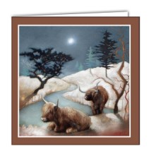 Cows under a snowy sky art card by lesley mclaren