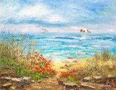 Poppies in the Sand Dunes by Leila Aitken
