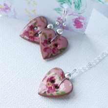 Pink Floral Heart Necklace & Earrings