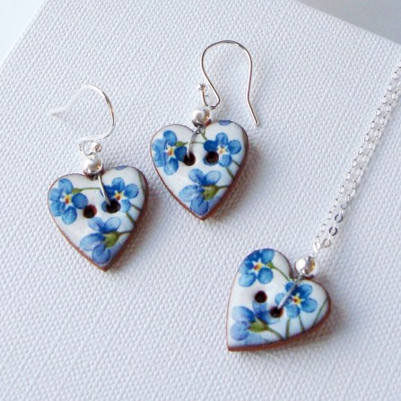 Blue Floral Heart Necklace & Earrings