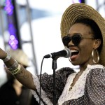 """Introduced by his drummer as """"Portland's Pillar of Soul,"""" Ural Thomas performed Friday on the Fir Meadows Stage. Ural was flanked by two beautiful background singers who playfully invited individual audience members to take turns showing off their dance moves. (Photo: Joseph Schell)"""