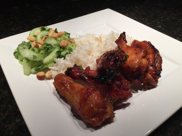 Wings served with Rice and Asian Cucumber Salad