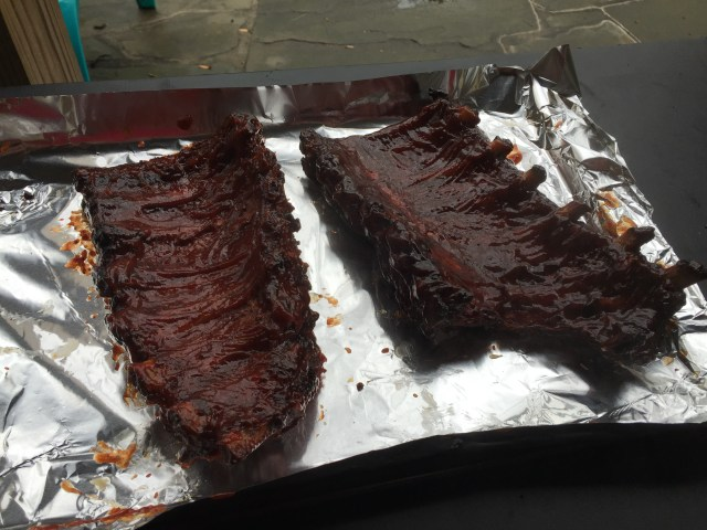 Baste the ribs with the BBQ sauce.