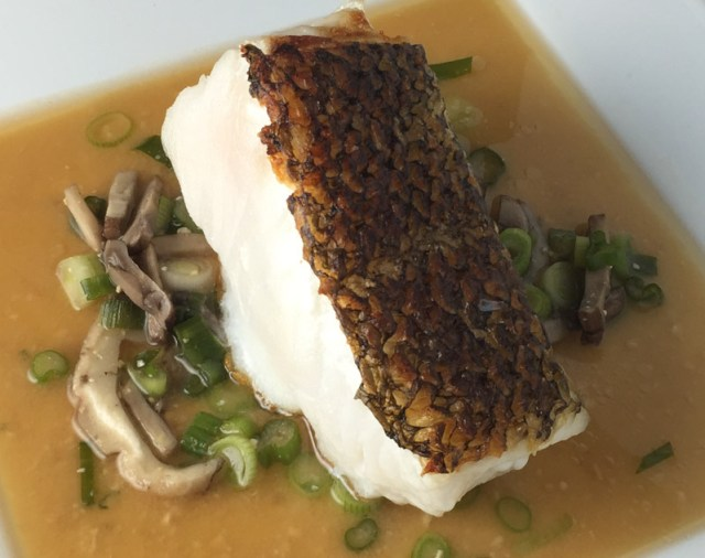 Pan Seared Sea Bass with Red Miso Broth