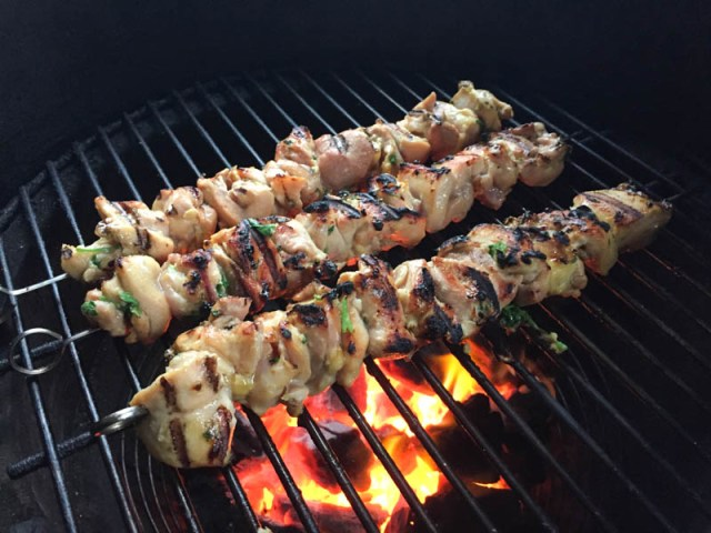 Big Green Egg Thai Green Curry Chicken Skewers
