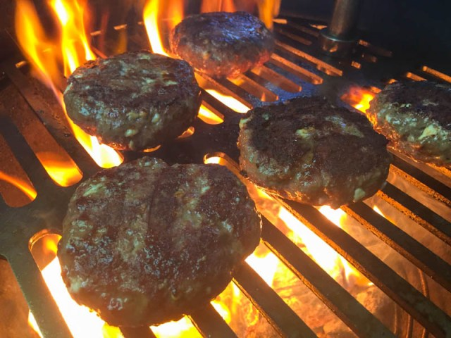 Big Green Egg Greek Burgers