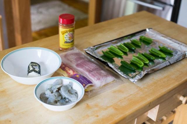 Big Green Egg Shrimp Goat Cheese ABT
