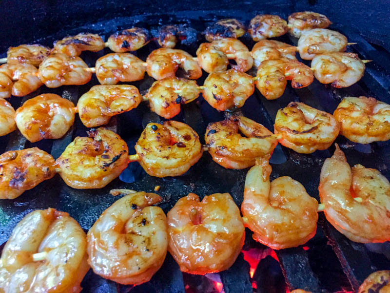 Big Green Egg Korean Shrimp Skewers