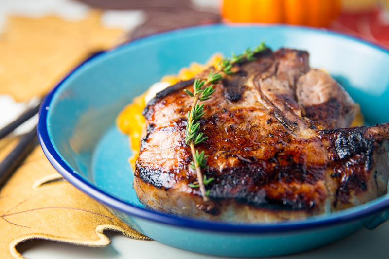 Big Green Egg Maple Brined Pork Chops