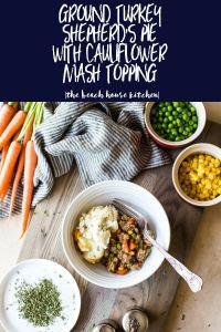 Ground Turkey Shepherd's Pie with Cauliflower Mash Topping