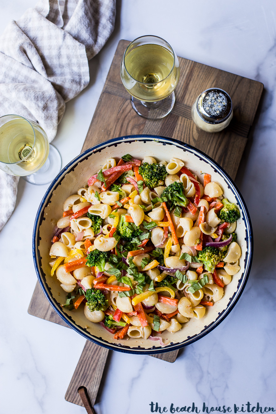 Overhead photo of bowl filled with pasta primavera