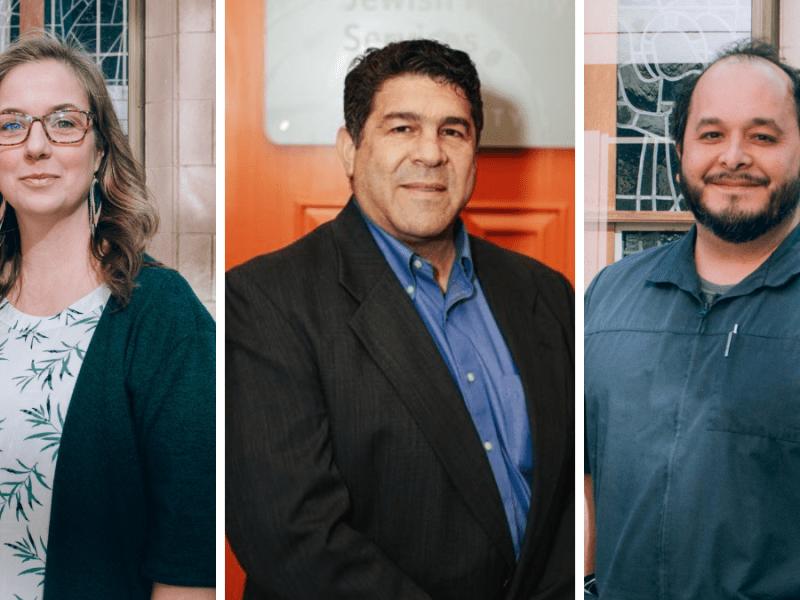 Portraits of Kansas City area chaplains Andrea Murdock, Rabbi Jonathan Rudnick, and Sergio Moreno-Denton.