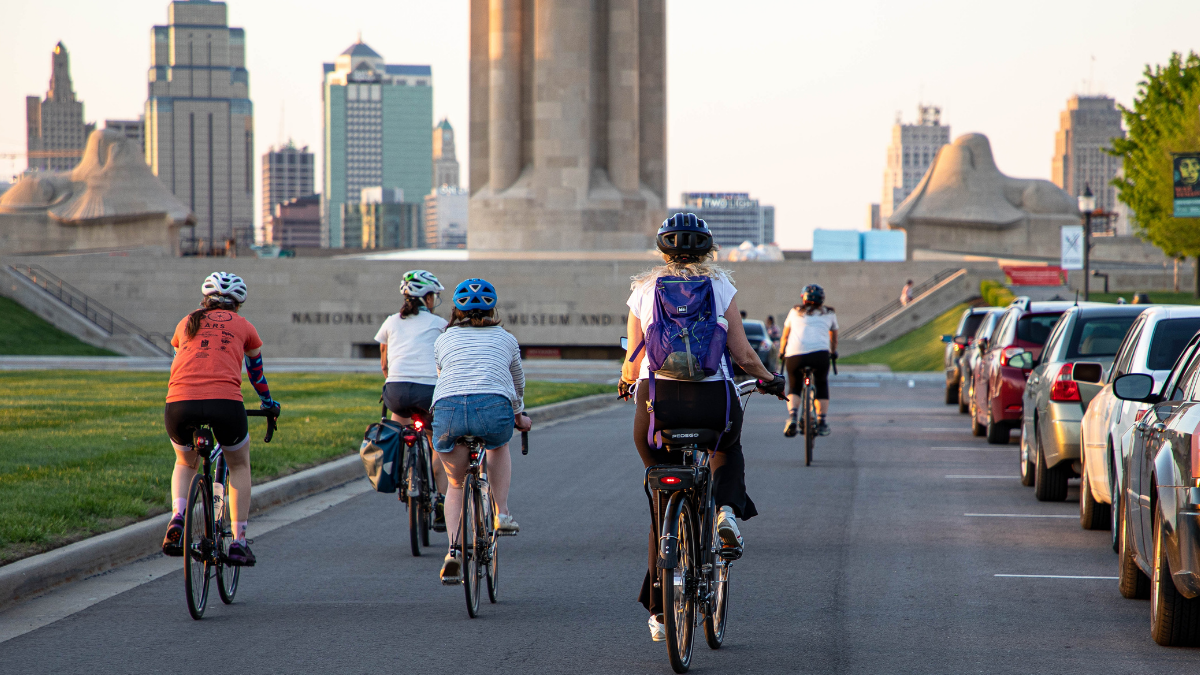 Girl Bike Gang KC finishes their Thursday night bike ride to the National World War I Museum and Memorial in downtown Kansas City on April 29.