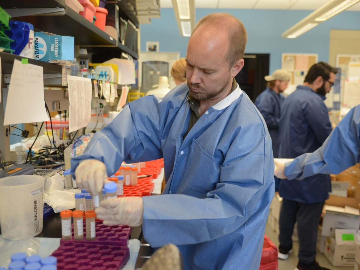 A researcher prepares waste water samples for RNA removal.