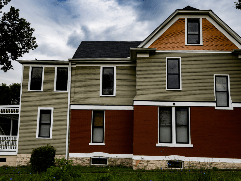 A formerly abandoned home under renovation on 4401 E. Ninth Street in Kansas City.