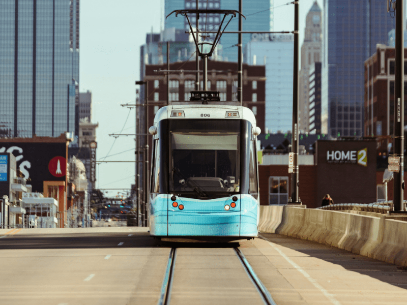 A KC Streetcar travels north into downtown from Union Station.