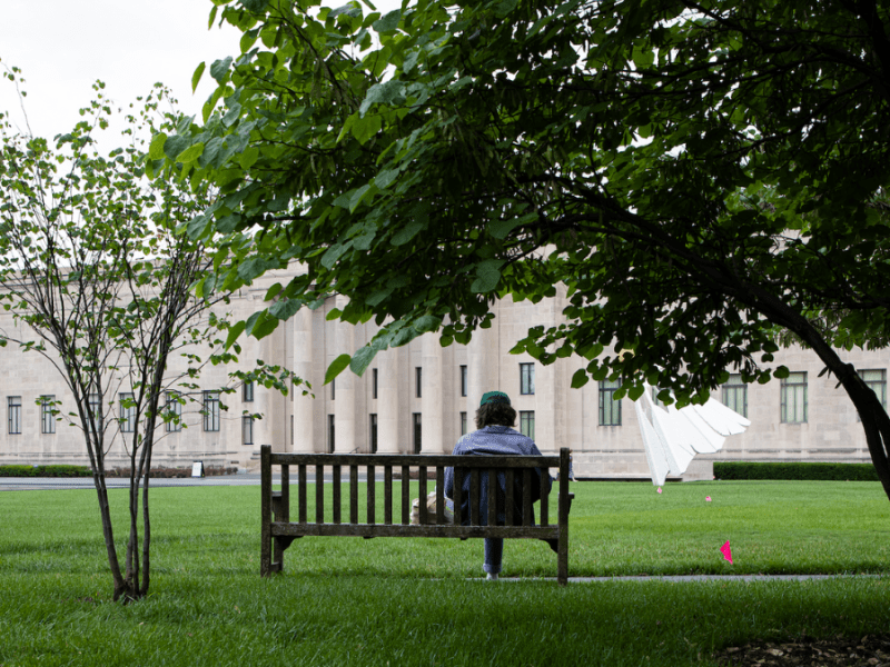 A person sits on a bench in the grass outside the Nelson-Atkins Museum of Art.