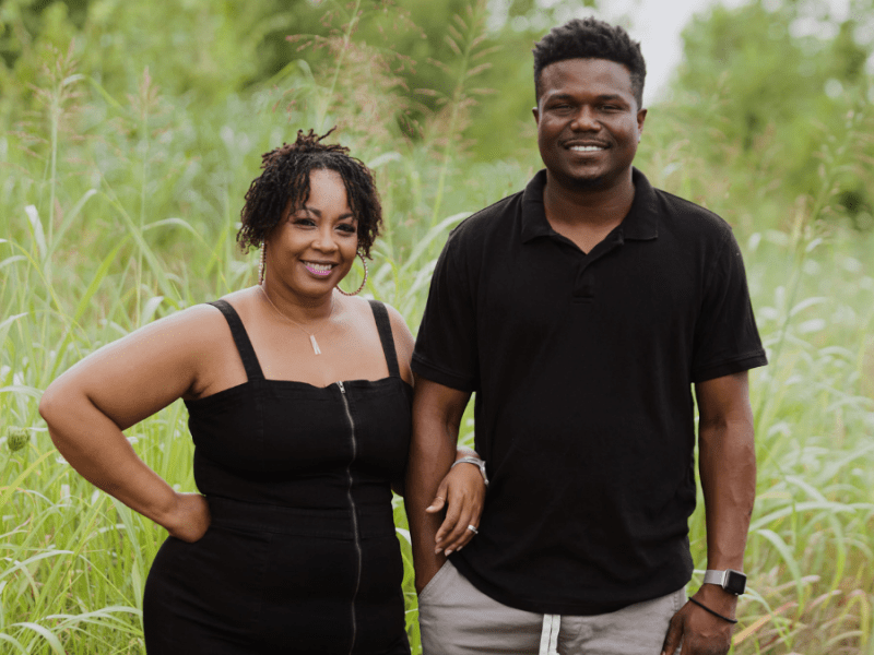 T'erra and Cleveland Chatmon outside their home in Bonner Springs, Kansas. The Chatmons receive individual and marital counseling through Journey Embraced, a Black-owned therapy organization.