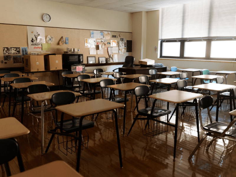 An empty classroom at Sumner Academy of Arts and Science is pictured July 29, 2021, in Kansas City, Kansas. Kansas City, Kansas Public Schools has a program called Enough is Enough with the goal of preventing student violence and deaths. (Chase Castor/The Beacon)