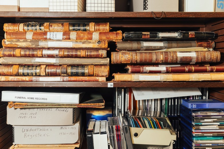 Records and documents fill the shelves of Clay County Archives on Aug. 18 in Liberty, MO.
