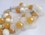 with Yolk Jade, Mother of Pearl and Lucite flowers. Wired onto a Silver plated chain
