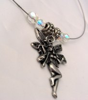 with silver plated angel charm and Czech crystals