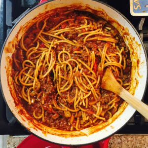 DIY Backpacking Meal BBQ Spaghetti. Tired of boring dehydrated meals? Whip up some of this delicious BBQ Spaghetti and save money. Plus it's way more delicious than any prepackaged spaghetti you can buy! It doesn't take a lot of time or energy. https://thebeardedhiker.com/bbqspaghetti