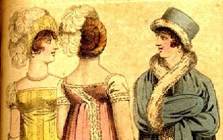 Print of ladies in Regency evening costume