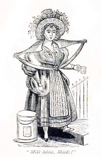 Engraving of a milk-maid carrying a pail of milk