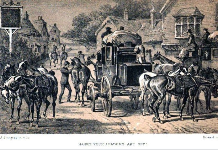 MaIl coach being loaded in an inn yard