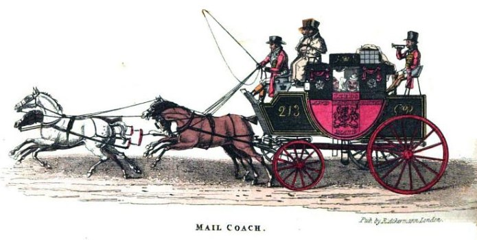 Mail coach with horses in full gallop