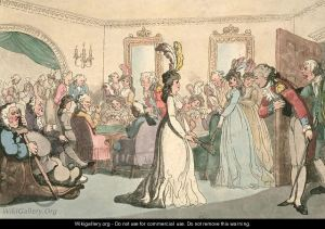 Soldier in red coat bows to lady in a fine white gown with feathers in her hair in the Bath Assembly Rooms