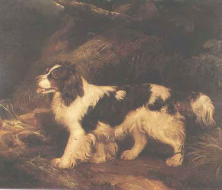 Painting of a water spaniel in a landscape