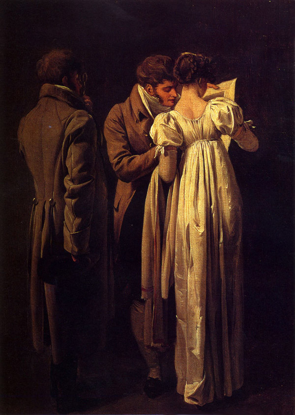 Painting of two men and a woman looking a print