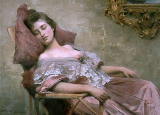 Painting of a woman sleeping in a chair