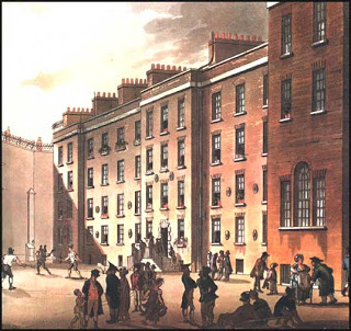 Colored print of the Fleet facade in 1808