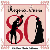 Silhouettes of a man and woman in Regency dress against a background of the number 80
