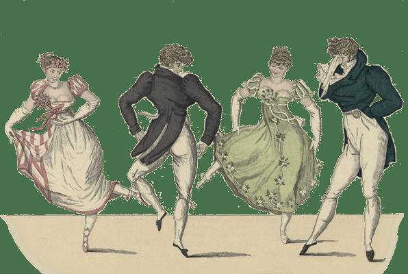Contradanse, Le Bonne Genre No. 19 -- image of two Regency Era couples dancing