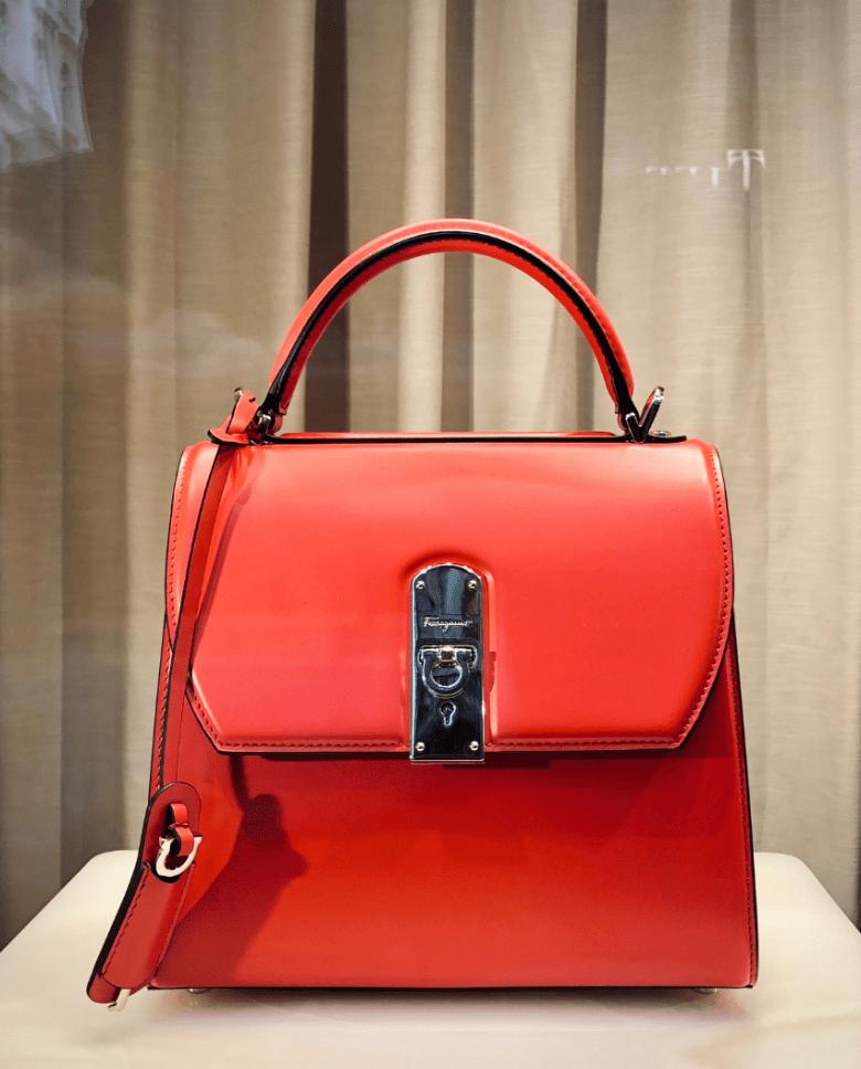 a red handbag