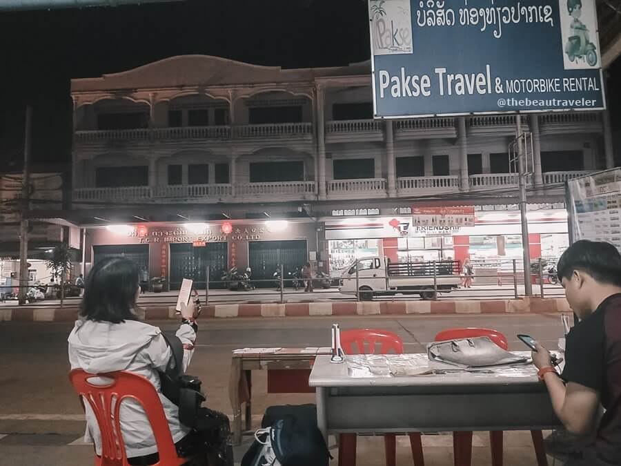Pakse travel, the agency where I bought the bus ticket from Pakse to Vientiane.