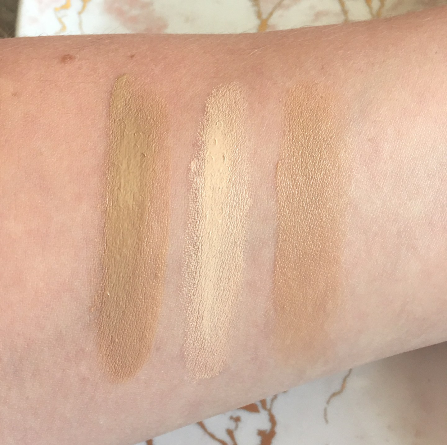 It Cosmetics swatches - CC Cream in Light, Bye Bye Under Eye in Light, CC Eye in Light