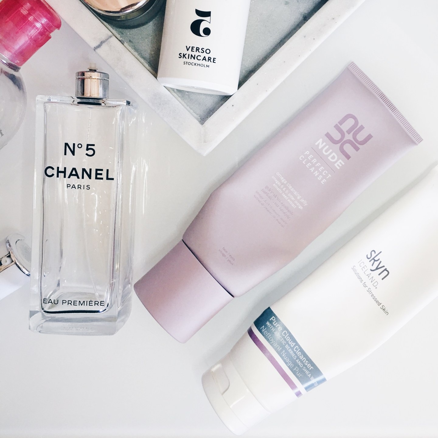 Chanel n0 5, Nude Perfect Cleanse, Skyn Iceland Pure Cloud Cleanser